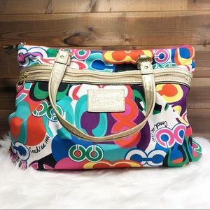 Coach Daisy Poppy Signature Print Multicolor Tote